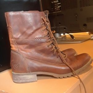 Timberland leather hiking cobat boots brown